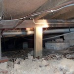 Timber Stump Building & Pest Inspection Gold Coast. Missing in sub-floor area, replacement is timber propped up